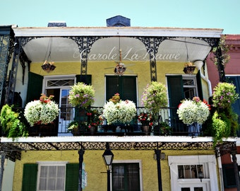NEW ORLEANS PHOTOGRAPHY ~ Balcony in the French Quarter ~ Wrought iron railings