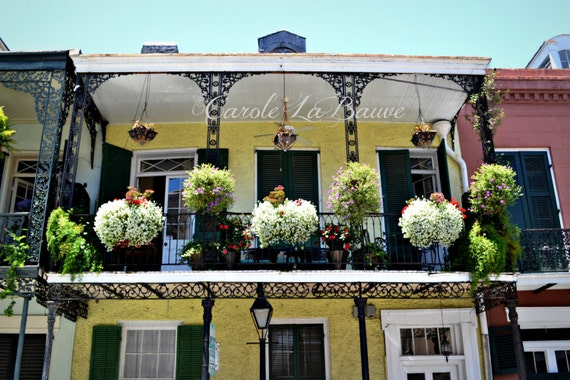 NEW ORLEANS PHOTOGRAPHY ~ Balcony in the French Quarter ~ Wrought iron railings ~ Louisiana Fine Art ~ Yellow house ~ Cajun Decor ~