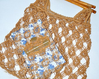 Vintage Macrame Rope Tote Bag with Wooden Handles- Retro- 1960s