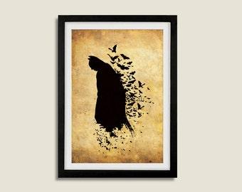 Silhouette Superhero Batman Poster Print