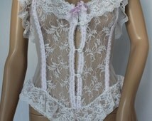Classic White Lace 80's Pin Up Girl Teddy