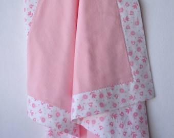 "Flannel Baby Blanket, Pink Baby Blanket, Baby Girl Blanket, Bird Baby Blanket, Flower Baby Blanket, Pink Nursery, ""Pretty in Pink"""