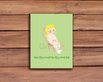 Pregnant Announcement Card; On the Way To The World, new baby, pregnant, congratulations, Baby announcement card, Green