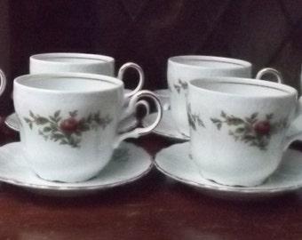 Vintage Tea cups bulk 8 tea cups saucers rose / floral pattern