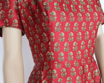 60's Mad Men Dress.....60's Brocade Red/Green Mad Men Dress