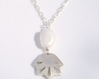 """Handmade Sterling Silver """"Seashore"""" Necklace with White Freshwater Pearl. Made in Melbourne by Amy Swan"""