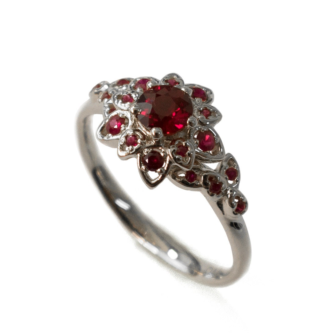Ruby Petal Engagement Ring 18K White Gold and Ruby