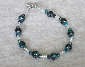 Blue and Green Metallic Swirl Bracelet