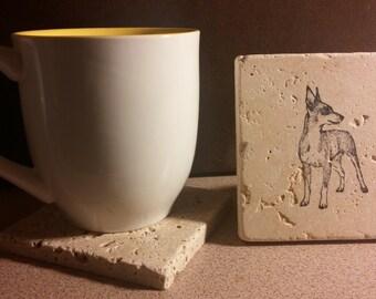 Set of 4 Miniature Pinscher Tumbled Stone Coasters