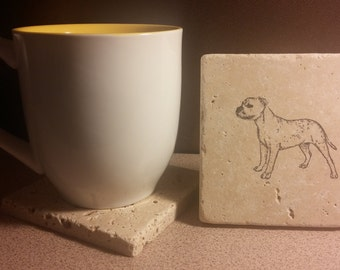 Set of 4 Pitbull American Staffordshire Terrier Tumbled  Stone Coasters
