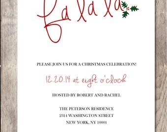 Christmas Party Invitation, Printable Christmas Invitation, Holiday Party Invitation, Holiday Party, Christmas Party Invitation, Fa la la
