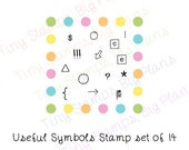 Planner stamps - Useful symbols - icons - tiny clear stamp set for your planner or diary, original design