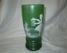 Vintage Green Satin Glass Mary Gregory Painte Vase Girl with Bird Fantastic Detail