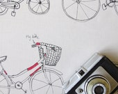 Soft printed tea towel on unbleached cotton, bicycle