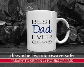 Black/Navy Best Dad Ever Coffee Mug, Gift For Dad, Dad Birthday Gift, Dad Coffee Mug, Unique Dad Gift, Dad Present