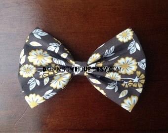 Floral Hair Bow, Flower Hair Bow, Gray Hair Bow, Grey Hair Bow