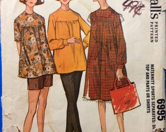 McCalls 6995 - 1960s Maternity Dress, Top, Pants and Shorts - Size 14