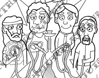 Popular items for of all walks on etsy for Bong coloring pages