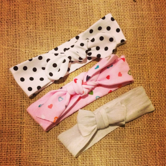 adorable, comfy baby headwrap / headband - polka dots - hearts - stripes