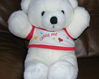 Dakin teddy bear stuffed animal, white bear plushie