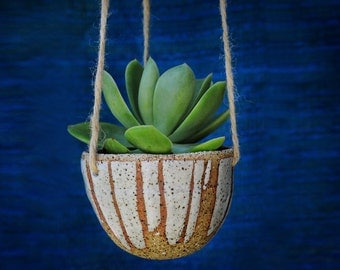 MILKY DRIBBLE - Hanging Planter - Textural Stoneware Clay - Milky White Glaze - Made to Order - Free Postage Australia Wide