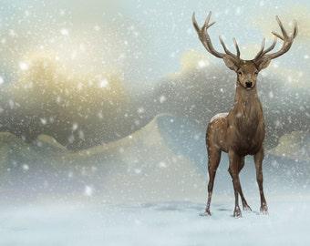 "Red Deer Snow Scene - Animal Illustration ,Art Print, Rustic Christmas, Scottish Scenery, Stag Painting, Winter Snow Art, 8x12"" Matte Paper"