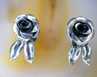Beaucraft Sterling Rose Design Earrings with Screw Back Closure