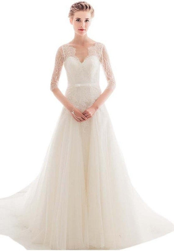 3/4 Sleeves Lace Wedding Dress with Train