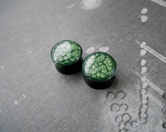 """Pair Green nebula ear plugs wooden gauges 4,5,6,8,10,12,14,16,18,20,22,25-60mm;6g,4g,2g,0g,00g;1/4,5/16,3/8,1/2,9/16,5/8,3/4,7/8,1 1/4,1"""""""