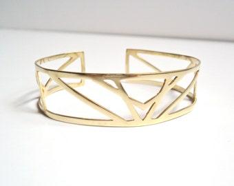 Geometric cuff bracelet, Brass cuff bracelet, Open cuff, Gold cuff bracelet, Geometric bracelet, Art Deco cuff bracelet, Metalsmith bracelet