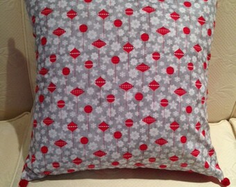 Grey Pillow Cover with Red Ornaments