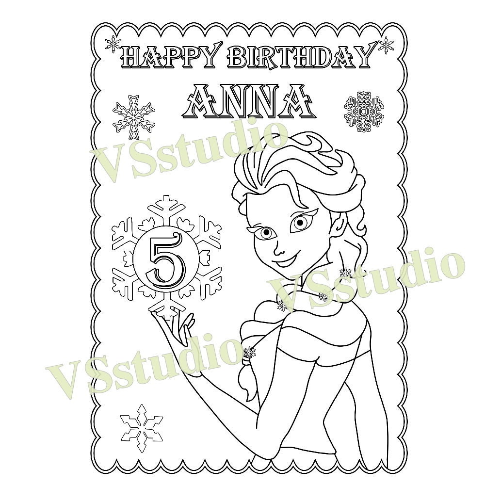 Frozen Birthday Party Favor Frozen Coloring Page PDF File