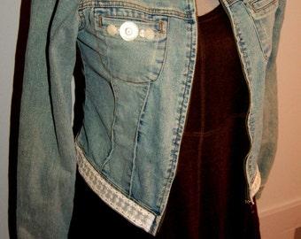 Military jacket women Denim jacket Upcycled jean jacket Size 5 Small