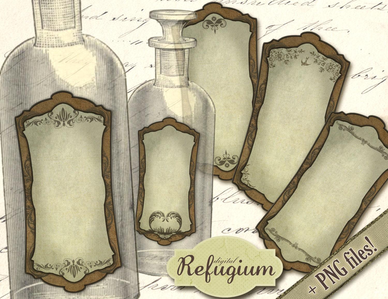 ausdruckbare flaschen etiketten instant download digitale. Black Bedroom Furniture Sets. Home Design Ideas