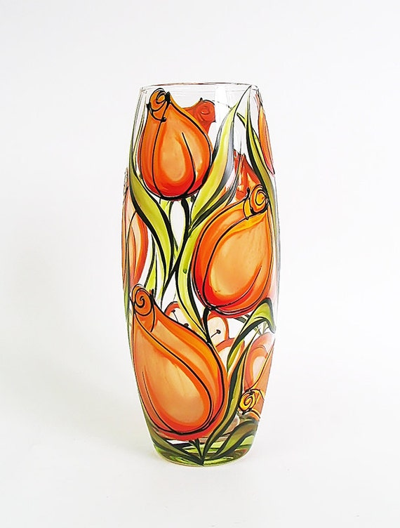 Hand painted glass vase orange tulips wedding by for How do i paint glass