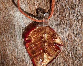 Autumn Glass Leaf Pendant Necklace