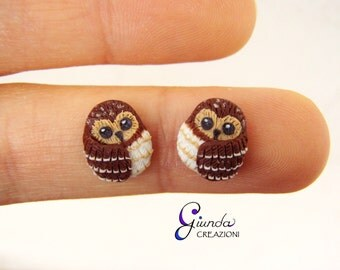 Lobe earrings, owl, polymer clay, fimo, handmade