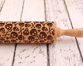 SKULLS & BONES - engraved, embossing rolling pin - perfect Halloween idea