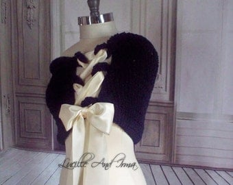 Navy Blue Bridal Crochet Wrap Shrug Wedding Shawl Caplet Bolero Stole Wedding Jacket With Flower Brooch Shoulder Cover  Knit