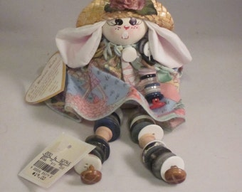Vintage Button Baby Easter Rabbit - 1992 -  4 Inches While Sitting