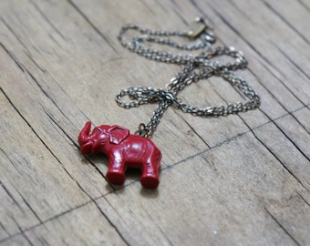 Children's red elephant vending machine charm on chain