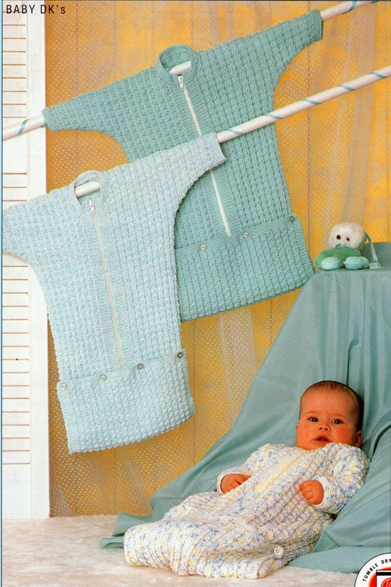 Knitting Pattern Sleeping Bag Baby : Baby Knitting Pattern Baby Sleeping Bag Dolman Sleeve Zip