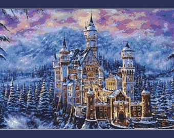 Winter Fantasy Castle Cross Stitch Pattern in PDF for Instant Download
