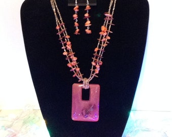Beaded Necklace with earrings