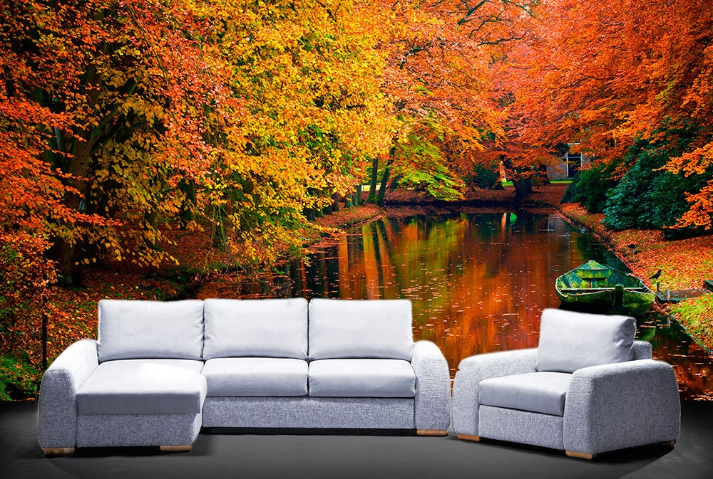 autumn river wall mural repositionable adhesive fabric On autumn wall mural