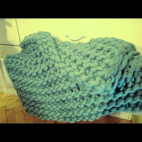 Hand Knitting Merino Wool Blanket : Chunky knit blanket merino hand by