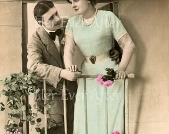 Edwardian love postcard on a balcany in France // Original antique RPPC romance postcard // Vintage tinted photo of pretty Edwardian lady