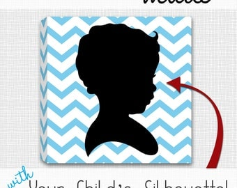 """CUSTOM Child Silhouette with Chevron Pattern - 12""""x12"""" Mounted Canvas Wall Art"""
