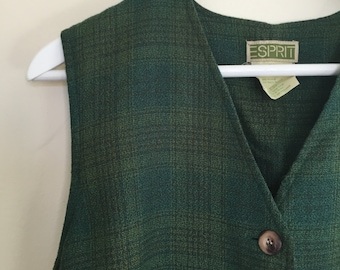 ESPRIT 90s vintage green plaid romper