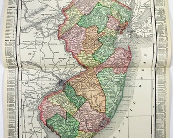 Vintage Original 1895 Map of New Jersey by Rand McNally